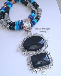 Schaef Designs Jewelry online NEW Black Onyx & Old Santa Fe style stamped sterling silver Large Southwestern Pendant Jewelry Chest, Diy Jewelry, Beaded Jewelry, Jewelry Design, Beaded Necklace, Santa Fe Style, Southwestern Jewelry, Black Onyx, Hand Stamped