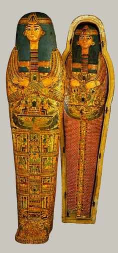 Coffin set of Henettawy, Third Intermediate Period, Dynasty 21, reign of Psusennes I, ca. 1040–992 b.c.  Egyptian; From Deir el-Bahri, western Thebes  Gessoed and painted wood