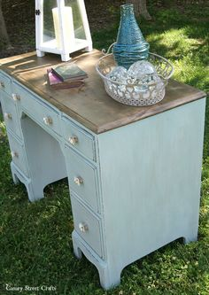 Coastal Desk Makeover with Weatherwood Stains Reclamation on top and ASCP Duck Egg Blue on body with wash of French Linen, Paris Grey, Old White mixed with water, wiped off excess, distressed and light cost of Duck Egg Blue