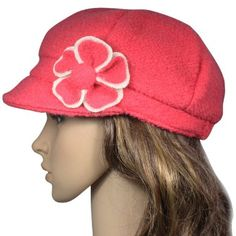 Flower Wool and Acrylic Blend Newsboy Hat