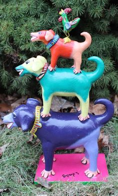 Tower of Dogs & Rooster! Ideal for Childs room! Mexican folk art Ortega Family