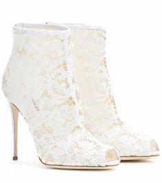 b6c6d7e21f6 Lace peep-toe ankle boots   Dolce & Gabbana Sko, Støvler