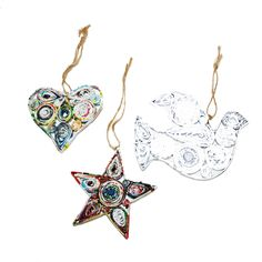 Handmade Recycled Paper Christmas Ornaments from Vietnam-Heart, Star and Dove Paper Christmas Ornaments, Beautiful Christmas Decorations, Handmade Home, Chinese New Year, Christmas Traditions, All Things Christmas, Decor Styles, Vietnam, Recycling
