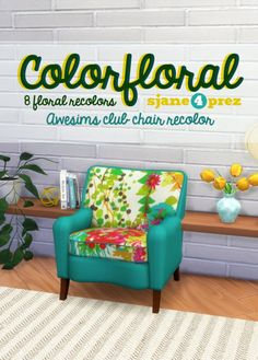 Colorfloral Club Chairs at 4 Prez Sims4 via Sims 4 Updates Check more at http://sims4updates.net/furniture/colorfloral-club-chairs-at-4-prez-sims4/