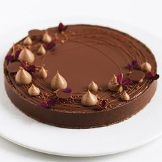 Chocolate Hazelnut Tart recipe by Maja Vase Hazelnut Cake, Chocolate Hazelnut, Chocolate Desserts, Chocolate Tarts, Tart Recipes, Sweet Recipes, Dessert Recipes, Baking Recipes, Fancy Desserts