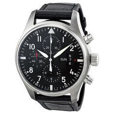 IWC Pilot Chronograph Automatic Black Dial Black Leather Men's Watch IW377701