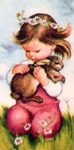 "Prayers for Children (Deluxe), Wilkin, 1952- Bunny    from ""Prayers for Children"" Deluxe Edition,  Golden Books,  1952Illustrations by Eloise WilkinLittle girl with bunny"