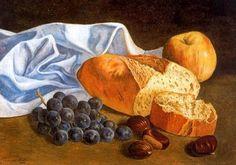 Pan y uva - Salvador Dalí 1926. Óleo sobre tabla. 24 x 34 cm. Abadía de Montserrat