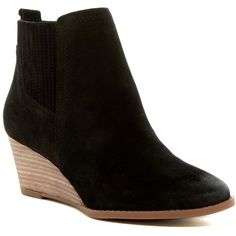 Franco Sarto Wayra Wedge Bootie - Wide Width Available ($70) ❤ liked on Polyvore featuring shoes, boots, ankle booties, ankle boots, black, black wedge boots, black booties, black suede booties, black wedge bootie and suede wedge bootie