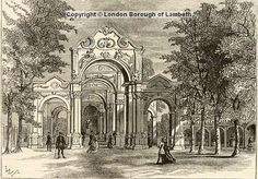 The Italian Walk at Vauxhall Gardens.'The trees in these gardens are scattered here with a pleasing confusion. At some distance are several notable vistas of very tall trees, where spaces between each are filled up with neat hedges, and on the inside are planted flowers and sweet-smelling shrubs. Some of these vistas terminate in a view of ruins, and others in a prospect of the adjacent country, and some are adorned with the painted representation of triumphal arches'.Engraving by W.P…