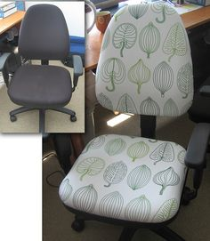 Reupholster a boring desk chair. You can make it comfier and more personalized. http://fortytworoads.blogspot.com.au/2008/05/apartment-overhaul-part-ii.html