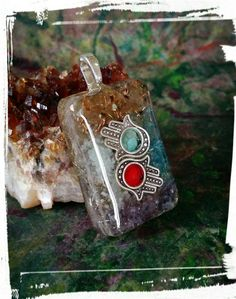 Free shipping in U.S.A Orgone pendant Hamsa by Fairywire on Etsy