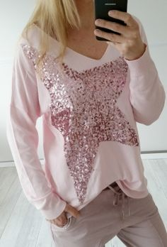 vintage-fashion-design - Oversize Big Star Pailletten Pullover in rosa von Via Code Gr.38/40/42