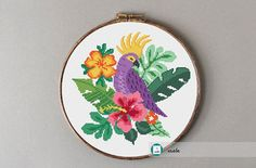Parrot on tropical background cross stitch pattern. Information about pattern: Stitches: 114 W x 109 H Floss: DMC colors) Size: x cm/ x inch count) x cm/ x inch count) Embroidery hoop: Fits a 9 inch embroidery hoop (if stitched on 14 count Aida) Cross Stitch Fabric, Cross Stitch Bird, Simple Cross Stitch, Cross Stitch Samplers, Cross Stitching, Cross Stitch Embroidery, Tropical Background, Types Of Stitches, Modern Cross Stitch Patterns
