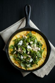 Roasted Pumpkin & Goat Cheese Frittata with Arugula Salad