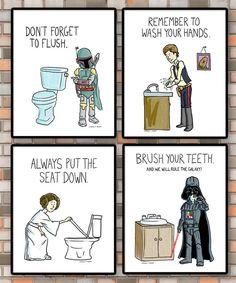 PRINTABLE Kids bathroom rules Set of 4 Star Wars bathroom
