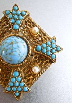 Turquoise Art Glass Brooch SPHINX Faux Pearls by RenaissanceFair