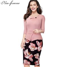 Cheap dress emma, Buy Quality dress sock directly from China dress lily Suppliers: Nice-forever Autumn Print Floral Patchwork Button Casual Dress Business Three Quarter Zip Back Bodycon Summer Office Dress Office Dresses, Dresses For Work, Summer Dresses, Autumn Dresses, Elegant Woman, Elegant Chic, Pink Dress, Peplum Dress, Bodycon Dress