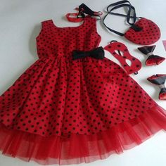 Baby Girl Party Dresses, Birthday Dresses, Little Girl Dresses, Girls Dresses, Fashion Kids, Baby Girl Fashion, Party Fashion, Lady Bug, Kids Dress Wear