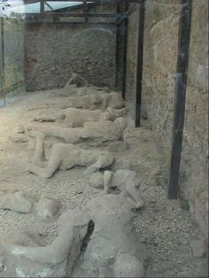 Pompeii- Roman town-city near modern Naples. Lost after a volcano erupted and buried it. Rediscovered years later. You can go visit the mummified remains of the city and people.