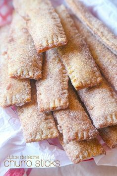 These Dulce de Leche filled Churro Sticks are so simple, crispy and cinnamon sweet! Perfectly portable so they're great for a party! Would also be fun to fill with different flavored jellies or jams Beaux Desserts, Köstliche Desserts, Dessert Recipes, Dinner Recipes, Churros, Biscotti, Mexican Food Recipes, Sweet Recipes, Mexican Sweet Breads