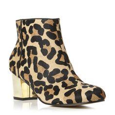 NOVA - Gold Heel Leopard Pony Ankle Boot