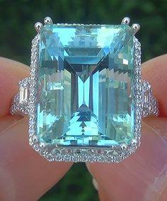 A Gorgeous GIA 13.80 Ct Flawless Natural Aquamarine Diamond 14k White Gold Estate Ring