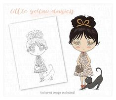 Girl Digi Stamp-Girl Cat Coloring Page-Digital Stamp-Scrapbooking-Girl Clip Art-Love Digital Stamp-Cute Girl-Love Colouring Page-Valentine Love Coloring Pages, Cat Coloring Page, Colouring, Girls Clips, Yellow Daisies, Catio, Digital Stamps, Cute Girls, Connect