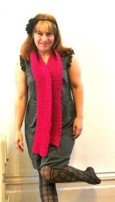 Bright pink post stitch scarf