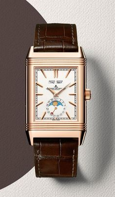 The @Jaeger-LeCoultre Reverso Tribute Calendar has two dials and is powered by JLC Caliber 853, which beats at 3 Hz and has 282 components (21 jewels) and a power reserve or 45 hours. For the full story, visit www.watchtime.com... #jaegerlecoultre #watchtime #menswatches