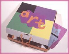 Pizza Box Portfolio 18 Oct  Take a clean pizza box, cover the front with construction paper and decorate. Attach a yarn handle, by poking holes through the side. Store your kids' art. Works great for some of those 3D projects too!