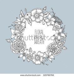 Floral vintage round wreath of flowers. Vector illustration for greeting cards, prints. - stock vector