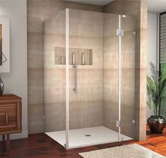 Avalux 48-Inch x 38-Inch x 72-Inch Frameless Shower Stall in Stainless Steel