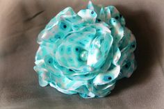 shabby fabric flower ice blue accessory pin by TwoCuteHairclips, $5.99