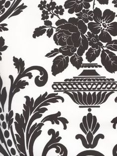 Neoclassic Black And White Damask Wallpaper