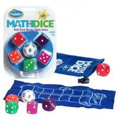 Math Dice Jr.Math Dice Jr. es el perfecto juego para que los más pequeños practiquen el cálculo mental mientras se divierten.   Usando sumas y/o restas, combina los valores de los dados para alcanzar el número objetivo. Luego, mueve un espacio en el marcador de puntos por cada dado que hayas utilizado en tus cálculos. El jugador que llegue a la línea de meta ¡es el ganador!