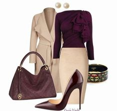 Beautiful outfit made of cream and aubergine (color pass numbers 13 and - Love this business Outfit!