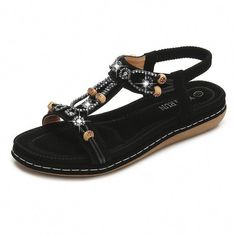 4367175bd111 LOSTISY Opened Toe Beaded Breathable Summer Flat Slip On Sandals is  comfortable to wear. Shop on NewChic to see other cheap women sandals on  sale.
