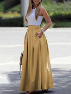 Ankle-Length Sleeveless Round Neck Dresses | prom dresses Maxi Skirt Outfits, Dress Skirt, Skirt Set, Pleated Skirt, Maxi Skirt Fashion, Two Piece Dress, The Dress, Crop Top Elegante, Trend Fashion