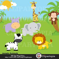 This Jungle animals Digital Clipart / Safari Animals Digital Clip is just one of the custom, handmade pieces you'll find in our collage sheets shops. Safari Animals, Animals For Kids, Baby Animals, Jungle Clipart, Shops, Fun Hobbies, Animal Faces, Card Tags, Collage Sheet