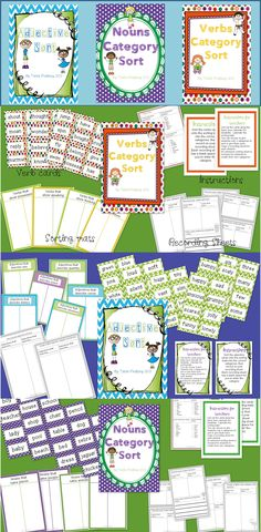 The bundle of Adjectives, Nouns and Verbs Category Sort! 3 files in 1!