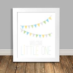 New to HappyHippoArts on Etsy: Welcome Little One Nursery Art Print Bunting Banner Word Art Kids Decor Wall Art Baby Print Kids Posters - 8x10 or 11x14 (16.00 CAD)