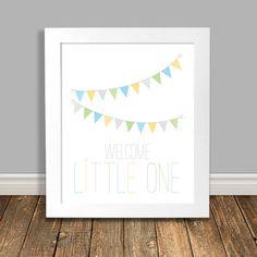 Welcome Little One Nursery Art Print Bunting Banner Word Art Kids Decor Wall Art Baby Print Kids Posters - 8x10 or 11x14