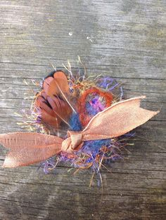 Small Felted, Feathered Hair Clip / Hair Piece : made with upcycled materials
