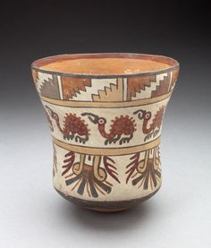 Nazca South coast, Peru, Beaker Depicting Bands of Spotted Birds and Geometric Motifs, 180 B.C./A.D. 500