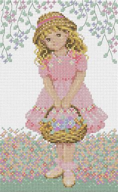 Girl with Flower Basket cross stitch kits
