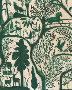 The Enchanted Woodland Wallpaper in Green from the Transylvanian Roots – BURKE DECOR Green Wallpaper, Modern Wallpaper, Designer Wallpaper, Mind The Gap, Burke Decor, Traditional Wallpaper, Tree Branches, Bold Prints, Order Prints