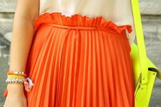 Neon, Pleated, Tangerine.  Awesome.