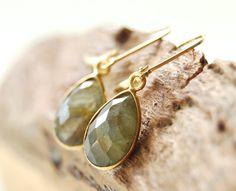 Keha earrings gold labradorite teardrop by kealohajewelry