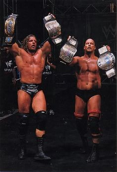 #WWE HHH as the Intercontinental Champion & 1 1/2 of the IC Champion.... Stone Cold Steve Austin as the World Champion & the other 1/2 of the tag team champions #RingOfStars #WWE